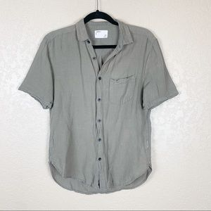 Your Neighbors 100% linen button front top